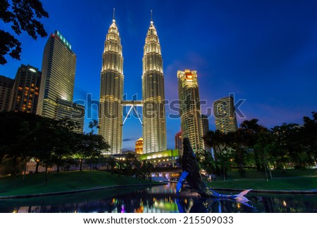 Kuala Lumpur city during blue hour. - stock photo