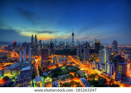Kuala Lumpur City during sunset - stock photo