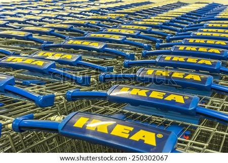 KUALA LUMPUR - JANUARY 25: Trolleys area of IKEA Bangkok Store on January 25, 2015 in Kuala Lumpur, Malaysia. Founded in Sweden in 1943, Ikea is the world's largest furniture retailer.  - stock photo