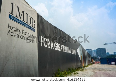 KUALA LUMPUR - JULY 12: Board showing 1MDB on July 12, 2015 at KL Malaysia. The scandal on 1MDB involved money transferred to Malaysia Prime Minister's personal bank account. - stock photo