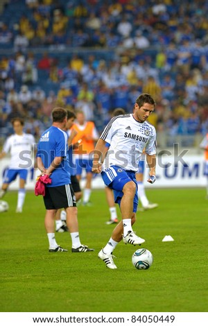 KUALA LUMPUR, JULY 21 : Chelsea's Frank Lampard warm-up during a preseason match against Malaysia on July 21, 2011 in Kuala Lumpur, Malaysia. Chelsea won 1-0 - stock photo