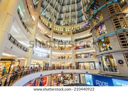 KUALA LUMPUR - JUNE 14: Interior of Suria KLCC on on June 14, 2013 in Kuala Lumpur, Malaysia. Suria KLCC is the ultimate luxury shopping destination in Malaysia. - stock photo