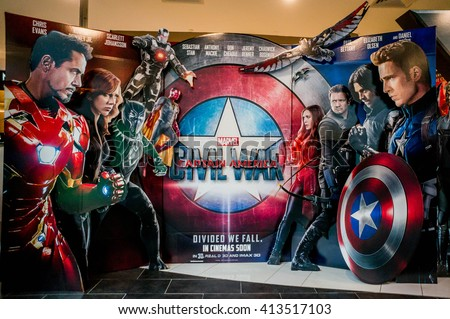 KUALA LUMPUR, MALAYSIA - APRIL, 2016 : A wall sized Captain America poster displayed during a roadshow in Mid Valley taken on 30 April 2016. Captain America: Civil War premieres is on 28th April 2016. - stock photo