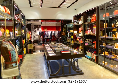 KUALA LUMPUR, MALAYSIA - APRIL 23, 2014: boutique interior in Suria KLCC shopping mall in Petronas Twin Towers. Suria KLCC is one of the largest shopping malls in Malaysia - stock photo