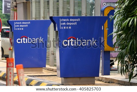 KUALA LUMPUR, MALAYSIA - April 10, 2016. Citibank logos display on board at the roadside in Kuala Lumpur. Citibank is an American financial services company. Founded since 1812. - stock photo