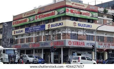 KUALA LUMPUR, MALAYSIA - April 13, 2016. General view of motorcycle shop in Kuala Lumpur.  - stock photo