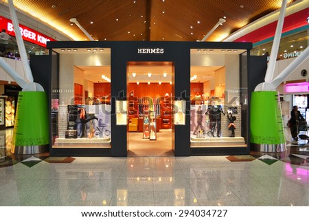 Kuala Lumpur, Malaysia - April 20, 2015: Hermes shop at Kuala Lumpur International Airport. Hermes is one of the most famous prestigious accessories brand around the world. - stock photo