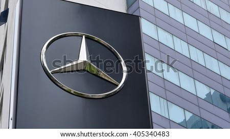 KUALA LUMPUR, MALAYSIA - April 10, 2016. Mercedes-Benz logo display in front of showroom in Kuala Lumpur. Mercedes is a German automobile manufacturer. Founded since 1926 - stock photo