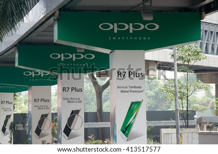 KUALA LUMPUR, MALAYSIA - April 10, 2016. Oppo advertise new products on pillars bridge in Kuala Lumpur. Oppo is a Chinese electronics manufacturer. Founded in Guangdong since 2004 - stock photo