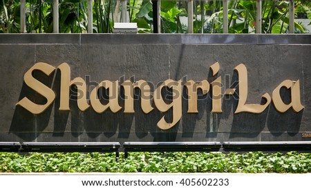 KUALA LUMPUR, MALAYSIA - April 10, 2016. Shangri-La logo display on wall in Kuala Lumpur. Shangri-La is a hotels and resort company, headquarter in Hong Kong, China.  - stock photo