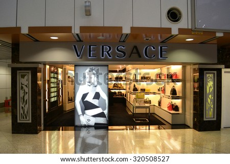 Kuala Lumpur, Malaysia - April 20, 2015: Versace shop at Kuala Lumpur International Airport. Versace is one of the most famous prestigious brands around the world. - stock photo