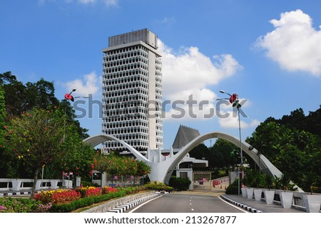 KUALA LUMPUR, MALAYSIA - AUGUST 24: Building of Malaysia Parliament on August 24, 2014  - stock photo