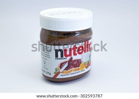 KUALA LUMPUR, MALAYSIA - August 3rd 2015.Jar of Nutella Hazelnut Spread.Nutella is the brand name of a hazelnut flavored sweet spread by the Italian company Ferrero. - stock photo