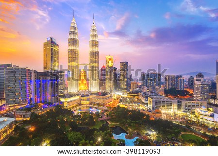 Kuala Lumpur, Malaysia city skyline. - stock photo
