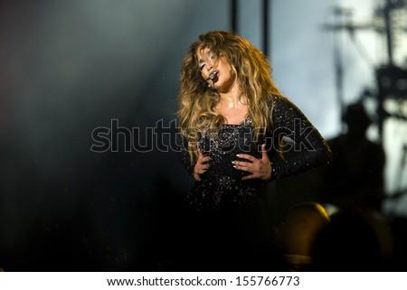 Kuala Lumpur, Malaysia, December 02, 2012: Puerto Rican actress, singer and dancer Jennifer Lopez performs during her Dance Again World Tour in Kuala Lumpur, Malaysia.  - stock photo