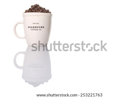 KUALA LUMPUR, MALAYSIA - FEBRUARY 17TH 2015.  Founded in 1971 Starbucks Coffee is an American global coffee company and coffeehouse chain. Currently it is the largest coffeehouse company in the world. - stock photo