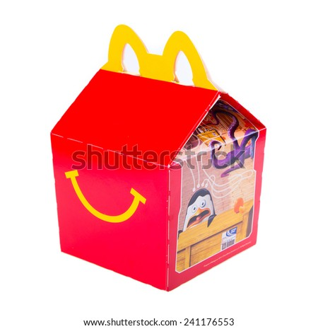 Kuala Lumpur, Malaysia - Jan. 03, 2015: McDonalds Happy Meal Packaging isolated on a White background - stock photo