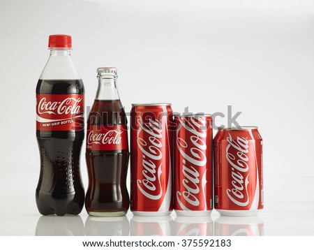 Kuala Lumpur Malaysia,Jan 18th 2016 Various size of Coca Cola drinks. Coca Cola drinks are produced and manufactured by The Coca-Cola Company, an American multinational beverage corporation. - stock photo