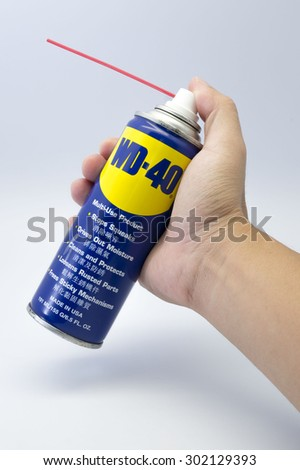 KUALA LUMPUR, MALAYSIA - JULY 31th 2015. WD-40 spray. WD-40 is the trademark name of a penetrating oil and water-displacing spray based in US. - stock photo