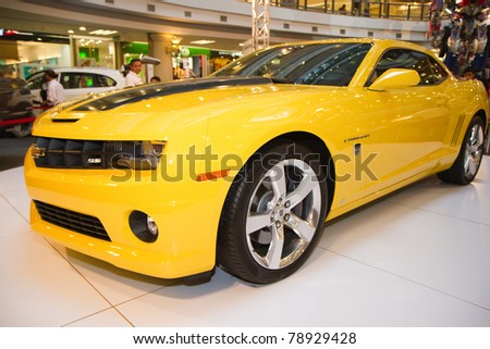KUALA LUMPUR, MALAYSIA - JUNE 9: New design Chevrolet Camaro from Transformers3 were displayed at Transformers road show on June 9, 2011 in Kuala Lumpur Malaysia. - stock photo