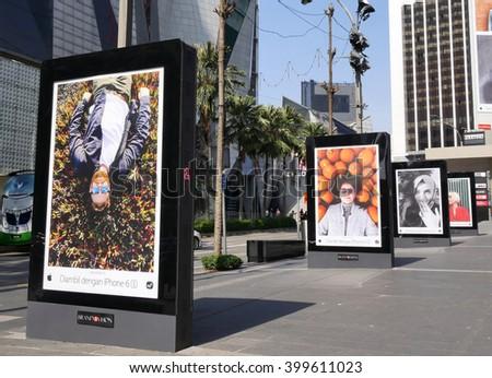KUALA LUMPUR, MALAYSIA - March 31, 2016. Apple display photograph take with Iphone in center of Kuala Lumpur city.  - stock photo