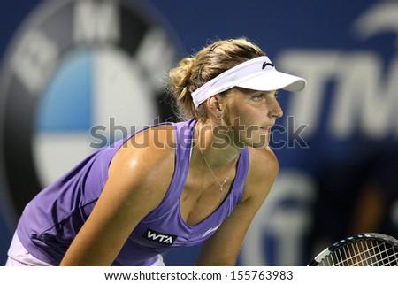 Kuala Lumpur, Malaysia, March 02 2013: Czech Karolina Pliskova gestures during the semi final match of the WTA Malaysian Open tennis tournament. - stock photo