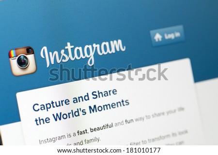 KUALA LUMPUR, MALAYSIA-MARCH 11: Screen capture of Instagram log in website in Kuala Lumpur, Malaysia on March 11, 2014. - stock photo