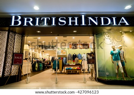 KUALA LUMPUR, MALAYSIA - MAY 27, 2016: British India retail at Sunway Pyramid Mall. Established in 1994, BritishIndia is a homegrown lifestyle brand that currently has over 40 outlets across Asia - stock photo