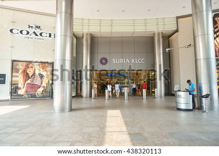 KUALA LUMPUR, MALAYSIA - MAY 09, 2016: entryway of Suria KLCC. Suria KLCC is in the vicinity of the landmark the Petronas Towers. - stock photo