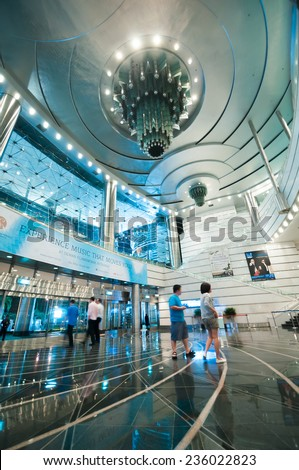KUALA LUMPUR, MALAYSIA - NOVEMBER 13, 2014 : Interior of Petronas Towers Entrance. Petronas Towers are twin skyscrapers and were tallest buildings in the world until 2004 - stock photo
