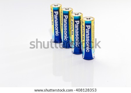 KUALA LUMPUR, MALAYSIA - 19/04/2016. Panasonic Evolta Alkaline Batteries. Panasonic Corporation was incorporated in December 1935. - stock photo