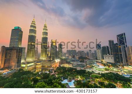 Kuala Lumpur, Malaysia skyline. - stock photo