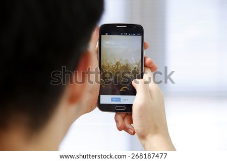 """Kuala Lumpur,Malaysia 9th April 2015,Twitter is an online social networking and microblogging service that enables users to send and read """"tweets"""", - stock photo"""