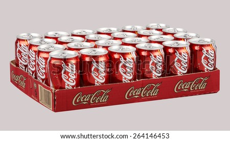 Kuala Lumpur,Malaysia 26th, 2014 Editorial photo of Classic Coca-Cola can on White Background. Coca-Cola Company is the most popular market leader in malaysia - stock photo