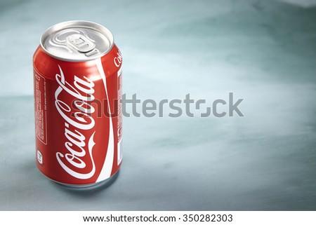 kuala lumpur-malaysia, 16th november 2015, coca cola can drink on the balckboard - stock photo