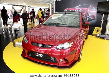 KUALA LUMPUR-MARCH 18:Proton Satria Neo R3 on display at the Proton Power of 1 Exhibition on March 18, 2012 in Kuala Lumpur, Malaysia. Proton is Malaysia's leading automotive manufacturer and exporter - stock photo