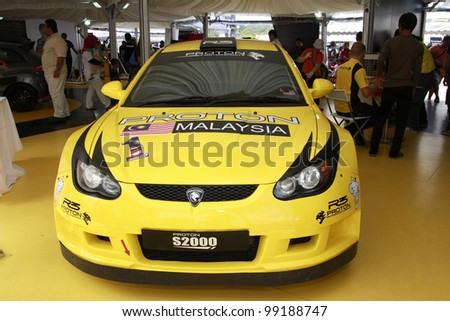 KUALA LUMPUR-MARCH 18: Proton Satria Neo S2000 on display at the Proton Power of 1 Exhibition on March 18, 2012 in Kuala Lumpur, Malaysia. The Proton Satria Neo S2000 Wins 2012 Rally Sweden (S-WRC) - stock photo