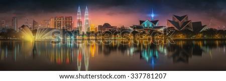 Kuala Lumpur night Scenery, The Palace of Culture, Malaysia - stock photo