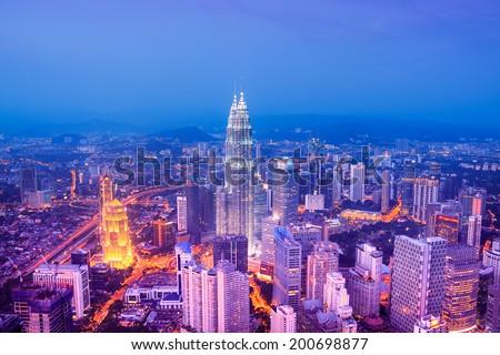 Kuala Lumpur skyline at night, Malaysia. - stock photo