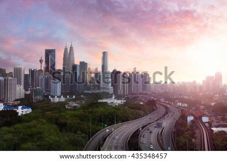 Kuala lumpur skyline in the evening, Kuala lumpur Malaysia skyline with sunset, Kuala lumpur is capital city of Malaysia. - stock photo