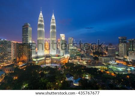 Kuala lumpur skyscraper at night in Malaysia.  - stock photo