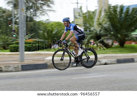 KUANTAN, MALAYSIA - MARCH 1: Zabriskie,David from Garmin Barracuda team during race in stage 7 of the Le Tour de Langkawi from Bentong to Kuantan on March 1, 2012 in Kuantan, Malaysia. - stock photo