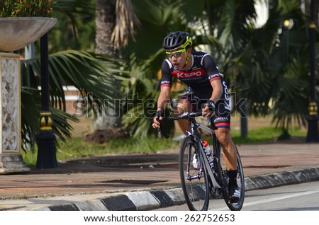 KUANTAN-MARCH 12: South Korean National champion, Seo Joon Yong of KSPO Cycling Team in action during stage five of the 2015 Le Tour de Langkawi (LTdL) on March 12, 2015 in Kuantan, Pahang, Malaysia. - stock photo