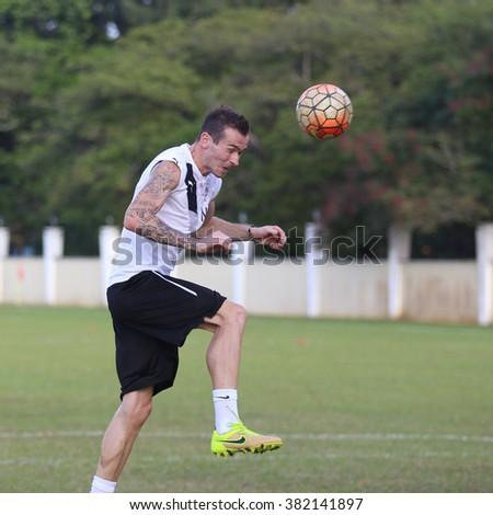 Kuantan, Pahang - JAN 28: Nejc Potokar heads the ball during the training Pahang FC Team at Taman Gelora field - stock photo