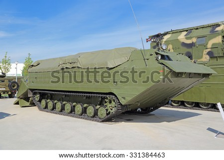 KUBINKA, MOSCOW OBLAST, RUSSIA - JUN 19, 2015: International military-technical forum ARMY-2015 in military-Patriotic park. The Amphibian personnel carrier PTS-2 - stock photo