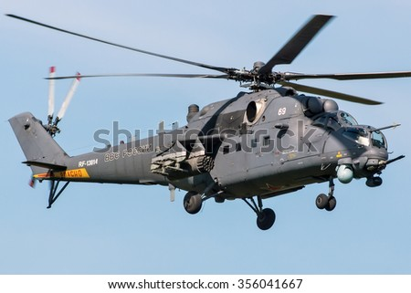 Kubinka, Moscow region, Russia - June 02, 2015: Russian combat helicopter Mil Mi-35 RF-13014 of the Russian Air Force take off at the Kubinka military air base. - stock photo