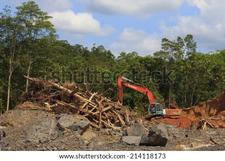 KUCHING, MALAYSIA - APRIL 27 2014: Deforestation. Photo of tropical rainforest in Borneo being destroyed to make way for oil palm plantation. - stock photo