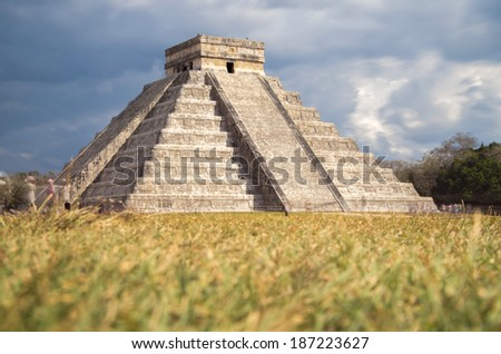 Kukulkan pyramid at Chichen Itza archeological site - stock photo