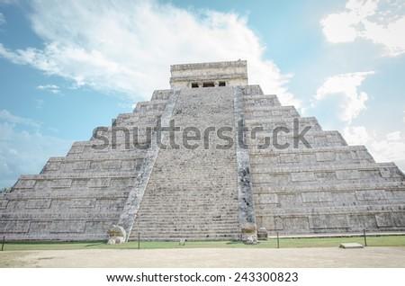 Kukulkan pyramid at Chichen Itza archeological site - stock photo