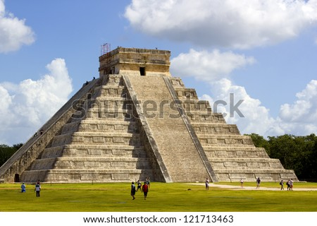 Kukulkan Pyramid at Chichen Itza in Mexico Cancun - stock photo